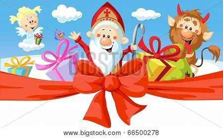 Saint Nicholas, Devil And Angel - Vector Illustration Isolated On White Background