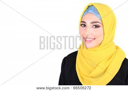 Beautiful muslim arabic woman on grey background