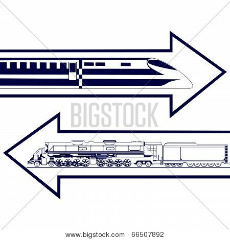 Railway transport. Abstract image of an old locomotive and modern trains. Illustration on white background. poster