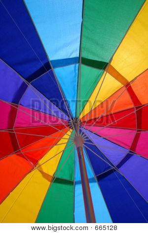 The View from beneath a Beach Umbrella Reveals an Abstract Design. poster