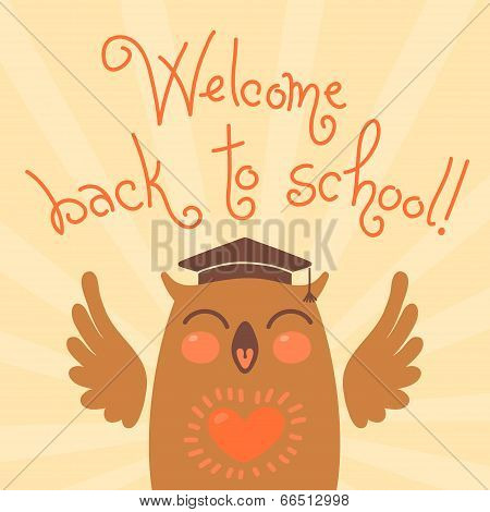 Welcome back to school. Card with an owl. Hand drawn vector illustration. poster