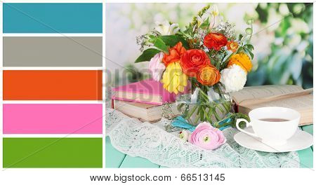 Scenic still life of flowers buttercups. Color palette with complimentary swatches