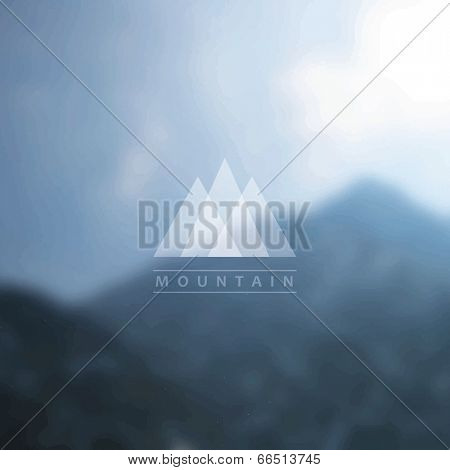 Mountain background with badge