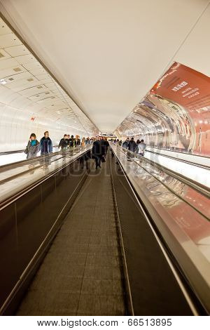 Escalator In The Paris Metro