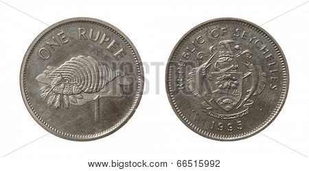 Seychellois Rupee coins isolated on white