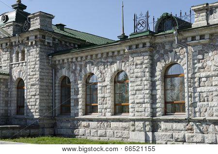 Unique railway station building of white marble. Slyudyanka, Irkutsk region