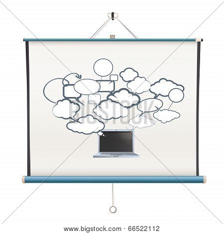 Modern Laptop Inside Projector Screen Over White Background
