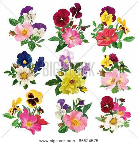 Set Of The Pansy And Roses