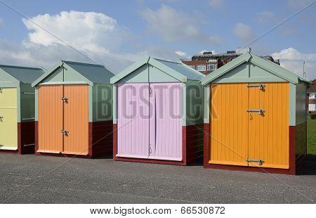 Beach Huts At Brighton. England