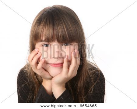 Girl Smiling Gently Looking At The Viewer
