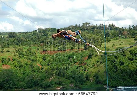 Tandem Bungee Jumping Over the Nile Africa