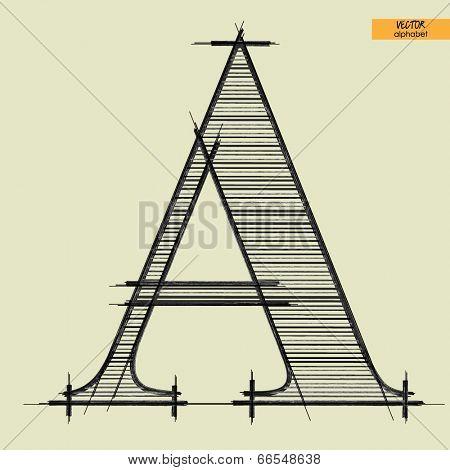 art simple alphabet in vector, classical black handmade font, letter A