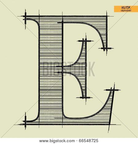 art simple alphabet in vector, classical black handmade font, letter E
