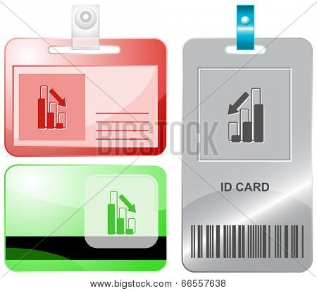 Graph degress. Vector id cards.