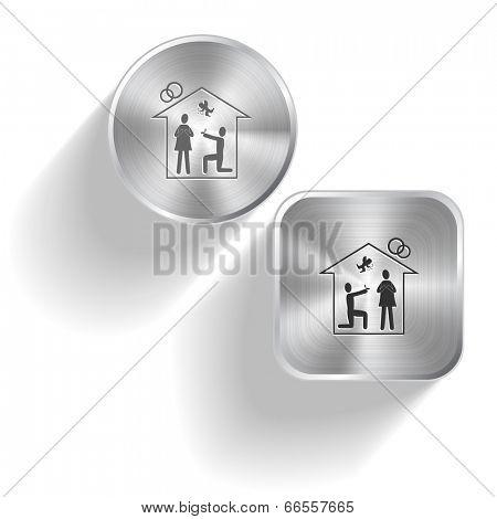 Home affiance. Vector set steel buttons