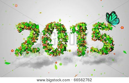 2015 New Year Leaves Particles Blue Butterfly 3D
