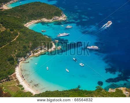 Aerial view of Voutoumi beach in Paxos island Greece