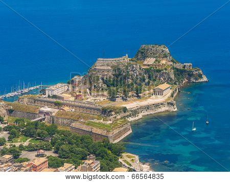 Aerial view of Kerkyra, Old Fortress, Corfu, Greece