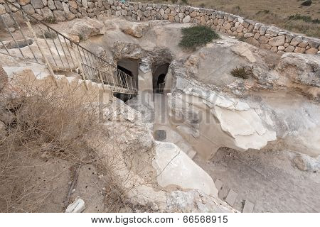 Ancient underground city Beit Guvrin in Israel.