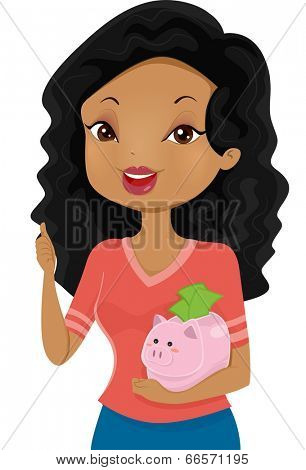 Illustration of a Girl Giving a Thumbs Up While Cradling a Piggy Bank