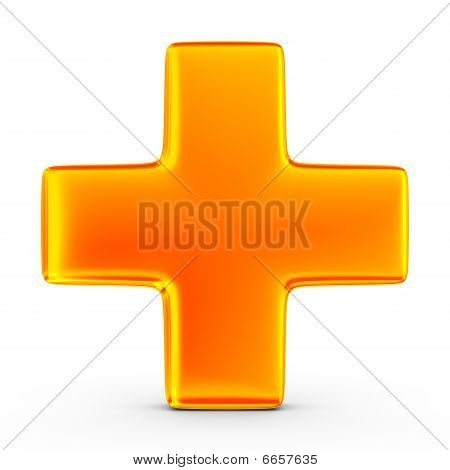 Sign Plus On White Background. Isolated 3D Image