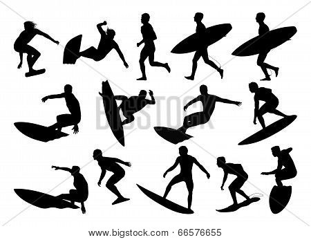 Big Set Of Surfers Silhouettes