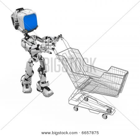 Blue Screen Robot, Shopping Trolley