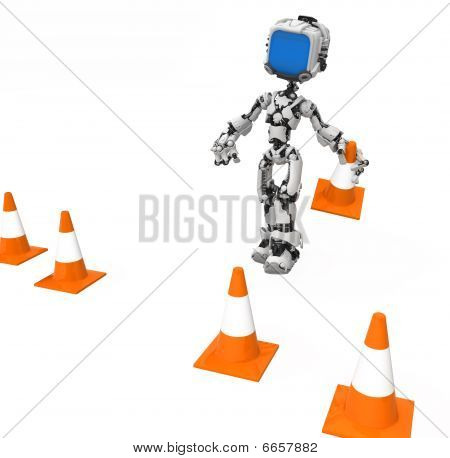 Blue Screen Robot, Traffic Cones