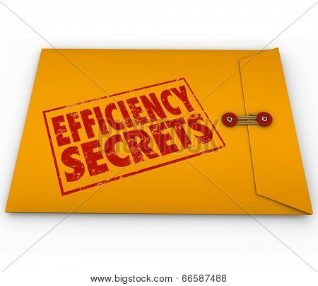 Efficiency Secrets yellow envelope classified confidential tips, advice, steps poster