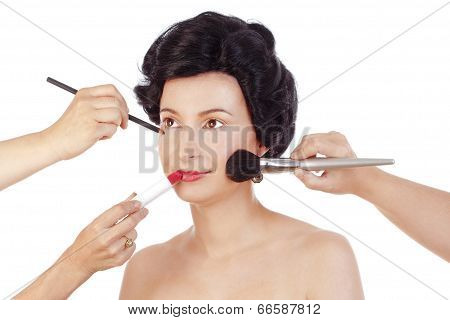Makeup Arists Preparing Model For Photo Shoot