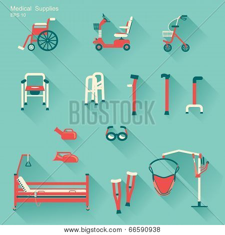 Medical Hospital Equipment For Disabled People.vector Illustration