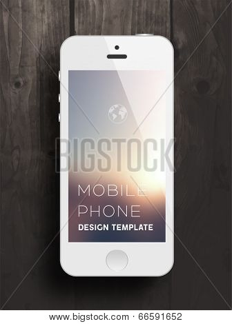 White Mobile Phone with Blurred Background. Vintage Wood Texture. Vector.