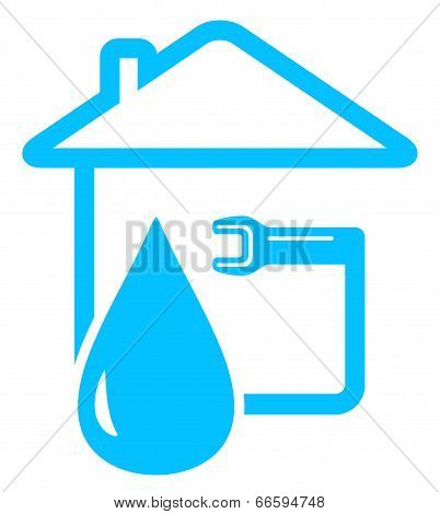 blue plumbing icon with drop of water and spanner on home poster