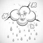 Happy cloud with raindrops on grey background, Kiddish illustration for monsoon season.  poster