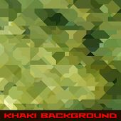 Khaki background with protection color geometric stains poster