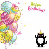 Happy Birthday card background with a cat. Vector holiday party template poster