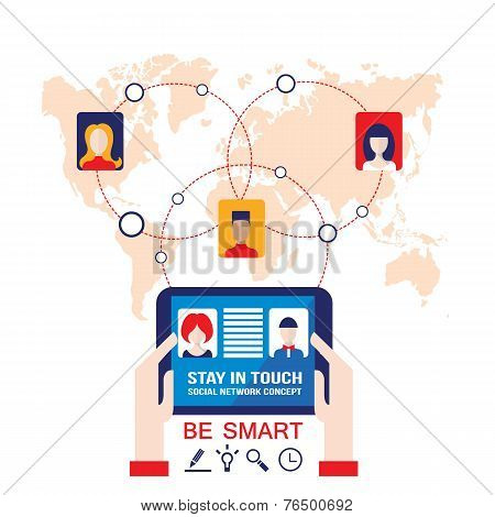 Businessman Hands Holding The Tablet With Web Icons On World Map Background Social Network Concept