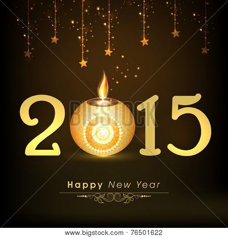 Happy New Year 2015 celebration concept with beautiful illuminated oil lit lamp on hanging stars decorated shiny brown background.