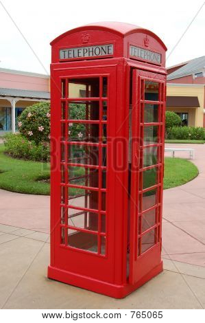 Vintage red telephone booth