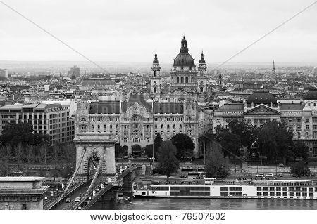 Budapest Chain Bridge and River Danube