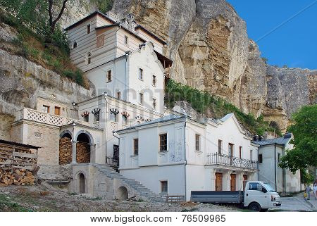 Monasterial administrative buildings in Bakhchisarai Holy Assumption Monastery in the rock