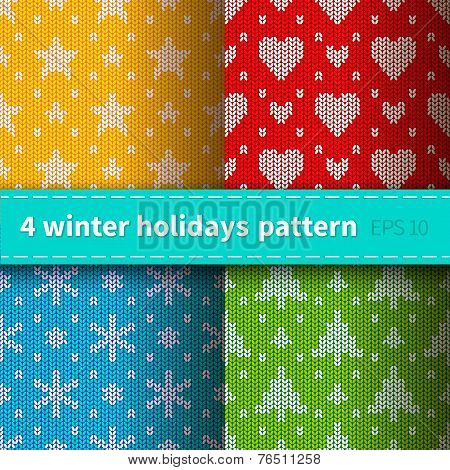 Set of 4 knitted patterns
