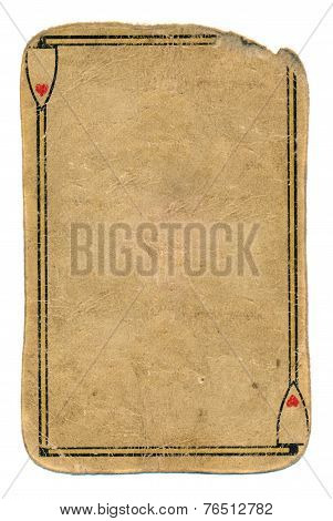 Antique Used Playing Card Ace Of Hearts Empty Paper Background
