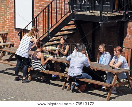 Outside eating at Nottingham pub.