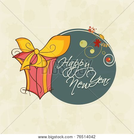 Happy New Year sticker, tag or label with gift box and stylish text on beige background.