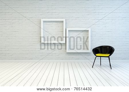 3D Rendering of Tub chair alongside two empty square white wooden picture frames on a white brick wall and wooden parquet floor in a simple minimalist home or gallery interior