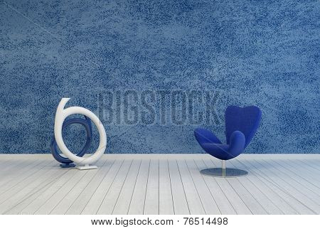 3D Rendering of Minimalist blue living room decor and interior with a rough textured painted wall over a white wooden floor with a modular armchair and contemporary abstract round sculpture or artwork poster