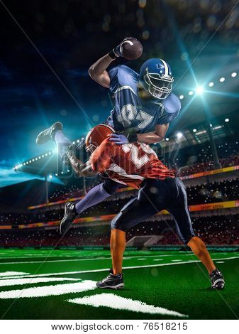 American football player in action in the stadium poster