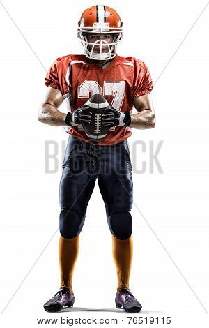 American football player in action white on isolated poster