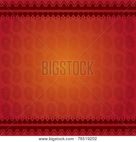 Asian red paisley background